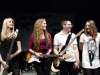 Die Band Skyline B (Julia Klinkhamer, Bass; Jacqueline Schulte, Gitarre;  Jens Linnemann, Gitarre, Lena Feyen, Gesang; Hannes Willms, Drums (nicht im Bild)) nach dem sie ihren Song