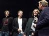 Die Band Platt im Kopp aus Hechthausen im Gespraech mit Moderator Ludger Abeln nach dem sie ihren Song