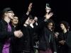 Die Band Voodoolectric jubelt ueber ihren Sieg beim plattdeutschen Bandcontest Plattsounds am 8. Oktober 2011 in der Exerzierhalle in Oldenburg. Die Band aus Aurich gewinnt mit ihrem Song